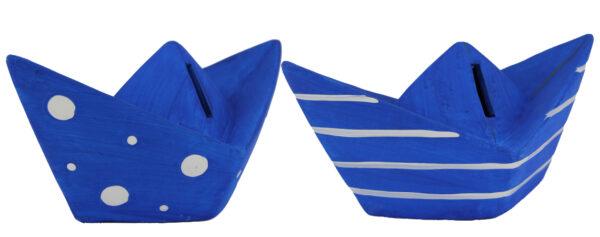 Spardose Boot - Papierboot, Papierschiff Keramik Sparbüchse