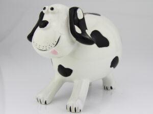 Spardose Hund schwarz weiß gefleckt