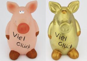 Sparschwein Viel Glück gold oder rosa