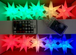 Star LED Sternkettte - Weihnachtssterne 11 cm Leuchtsterne mit Farbwechsel - 10er StarLed Sternkette Pagoda