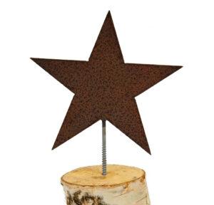 Stern zum Reinschrauben in Holzstamm Stern am Stab - Eisen, rost