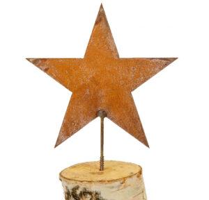 Stern zum Reinschrauben in Holzstamm - Stern am Stab - Eisen, rost