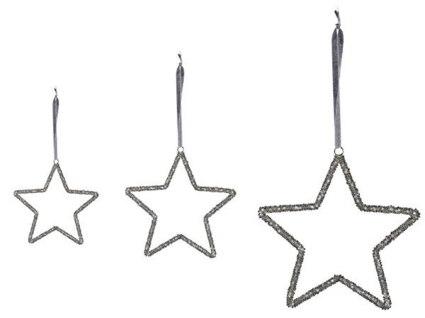 Sternhänger silber - Fünfzackiger Dekostern zum aufhängen