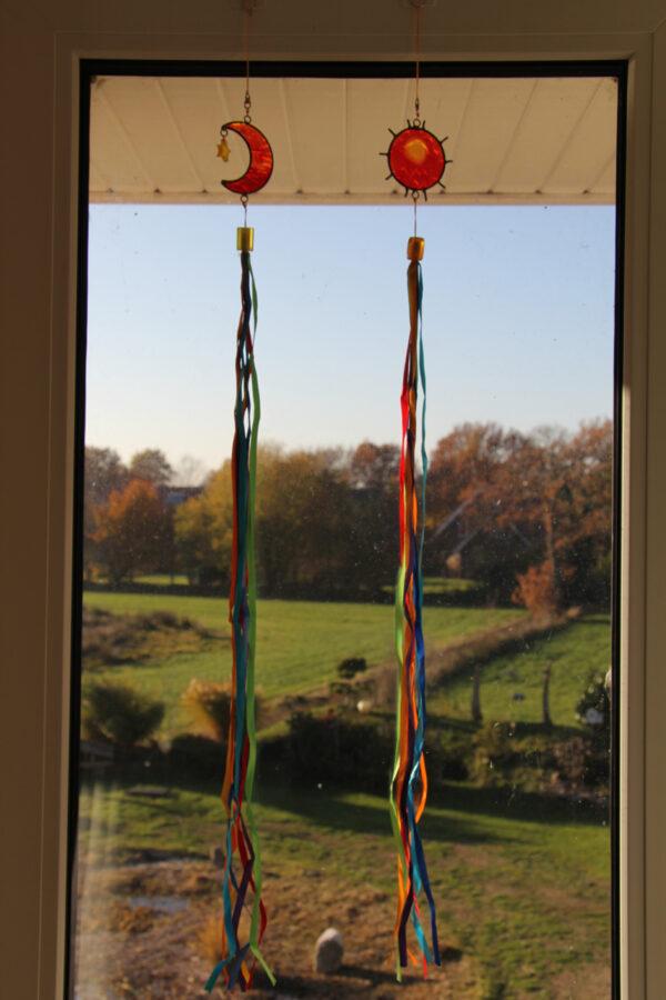 Suncatcher Sonne und Mond mit Stern Regenbogen Fenstergirlande Mobile