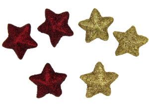 Tischdeko Sterne - Streudeko Stern mit Glitteroptik gold und rote Glitzersterne