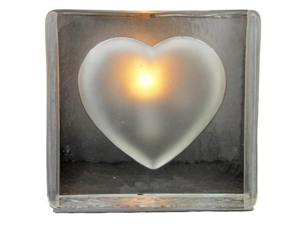 Tischleuchte Glas Herz – Tischlampe Stone heart – Lampe Stein Herz – Nachtischlampe – Bodenleuchte – Dekoleuchte – Liebeslicht - Frontal
