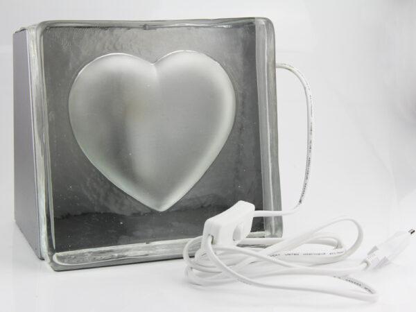 Tischleuchte Glas Herz – Tischlampe Stone heart – Lampe Stein Herz – Nachtischlampe – Bodenleuchte – Dekoleuchte – Liebeslicht - Licht aus
