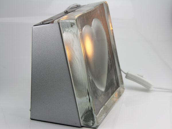 Tischleuchte Glas Herz – Tischlampe Stone heart – Lampe Stein Herz – Nachtischlampe – Bodenleuchte – Dekoleuchte – Liebeslicht - Seitenansicht