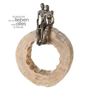 Skulptur Together Mangoholz spaar in Baumscheibe mit Zitat Anhänger - naturbelassene massives Mangoholz