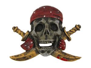 Totenkopf Magnet Pirat mit Säbel und Kopftuch