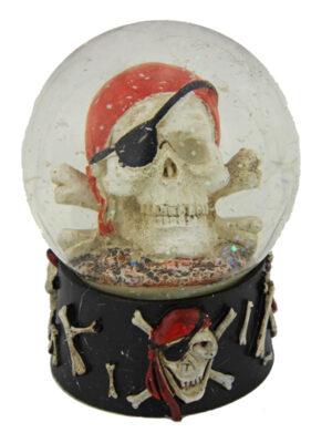 Totenkopf Schneekugel Pirat – Schüttelkugel Totenkopf und Münzen