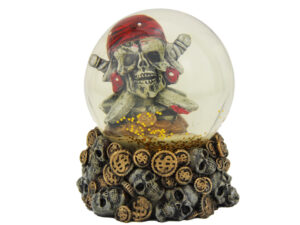 Totenkopf Schneekugel Pirat - Schüttelkugel Totenkopf und Münzen
