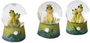 Traumkugel Froschkönig mit goldenem Glitter – Schneekugel Frosch – Schüttelkugel Frösche