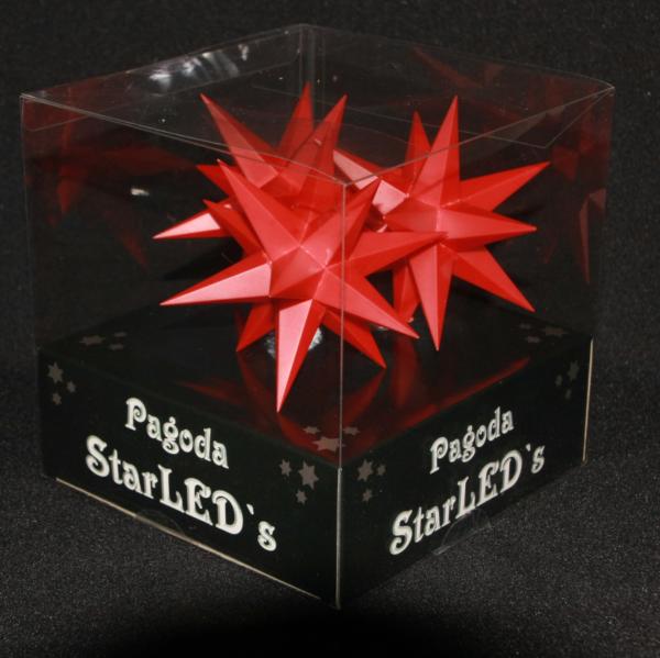 Verpackung 3 er 3D LED Stern mit Zuleitung und Timer - Weihnachtssterne 11 cm Leuchtstern