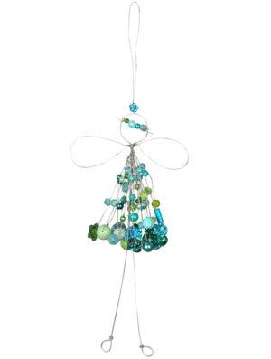 Verzierte Draht Fee zum Aufhängen - Engel mit Perlen - Fensterdekofee blau