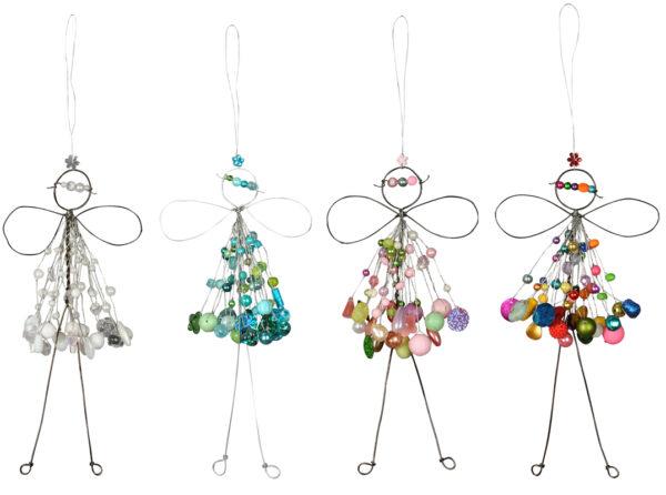 Verzierte Draht Fee zum Aufhängen - Engel mit Perlen - Fensterdekofee in verschiedenen Farben