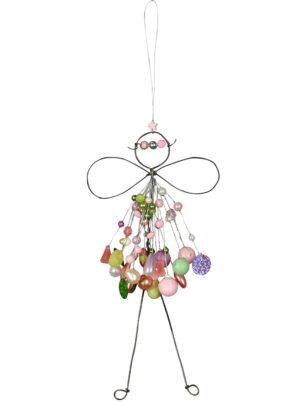 Verzierte Draht Fee zum Aufhängen - Engel mit Perlen - Fensterdekofee rosa