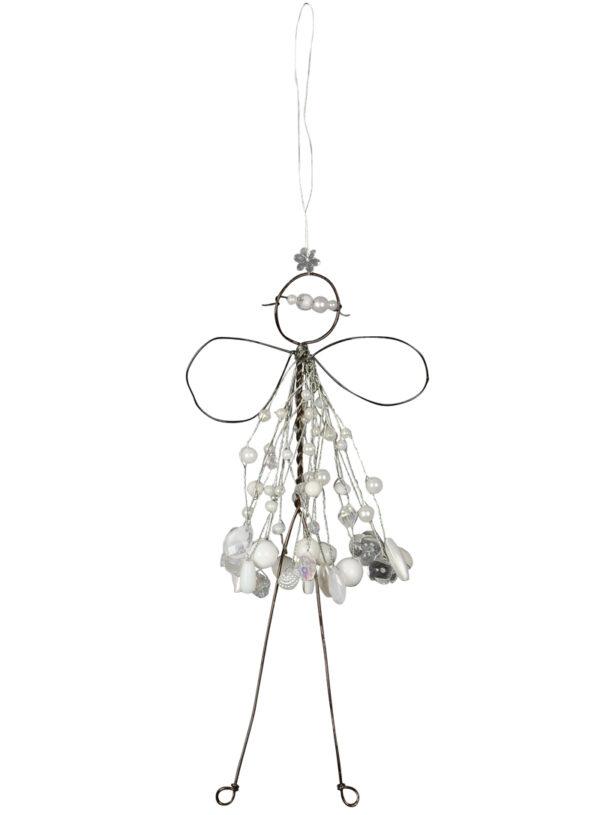 Verzierte Draht Fee zum Aufhängen - Engel mit Perlen - Fensterdekofee weiß