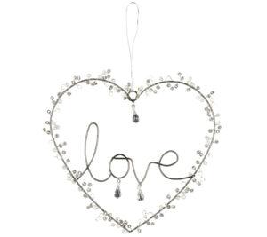 Verziertes Draht Love Herz zum Aufhängen - Pärchen Hochzeitsgeschenk Herz Symbol Liebe