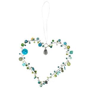 Verziertes blaues Drahtherz zum Aufhängen - Fensterdekoherz Türkranz Herz