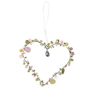 Verziertes rosa Drahtherz zum Aufhängen - Fensterdekoherz Türkranz Herz