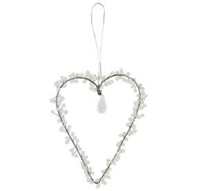 Verziertes weißes Drahtherz zum Aufhängen - Fensterdekoherz Türkranz Herz