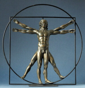 Der Vitruvianische Mensch, Da Vinci - Paraston Skulptur - L´homme de Vitruve - Kupfer