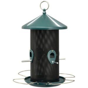 Vogel Futterspender- nachfüllbare Futtersäule für Körner und Samen - türkis Vogelfutterspender petrol