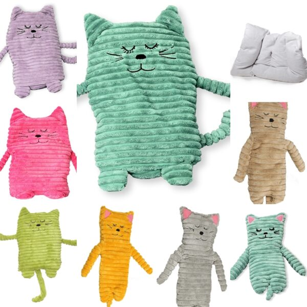 Wärmetier Katze mit Wärmekissen – Füllung mit Keramikperlen oder Hirse und Lavendel