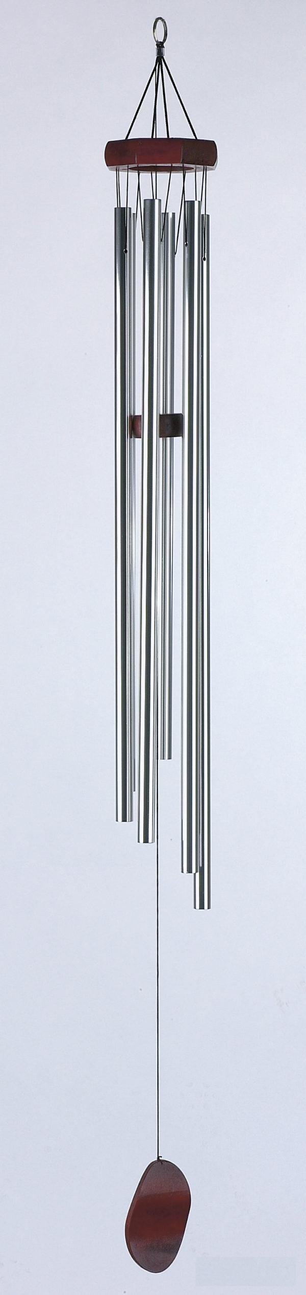 Wind Klangspiel mit 6 Klangröhren, silber/mahagoni, Länge 77cm