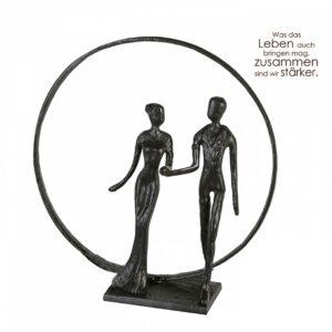 Wedding Skulptur Hochzeit mit Spruch - Eisen , brüniert 21cm
