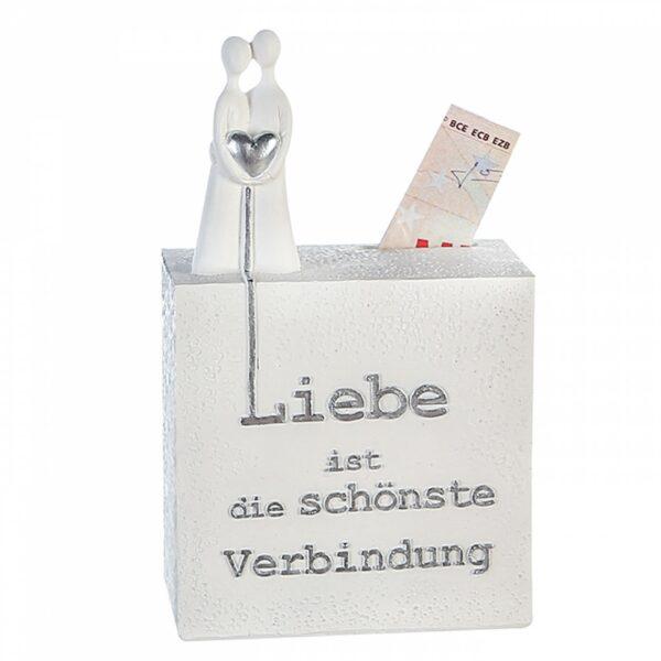 Weiße Hochzeitsspardose mit Spruch und Herz - Steinoptik weiß silberne Liebes Spardose