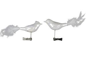 Weißer Vogel mit Clip - Weihnachtsbaumschmuck Vogelclip mit Feder