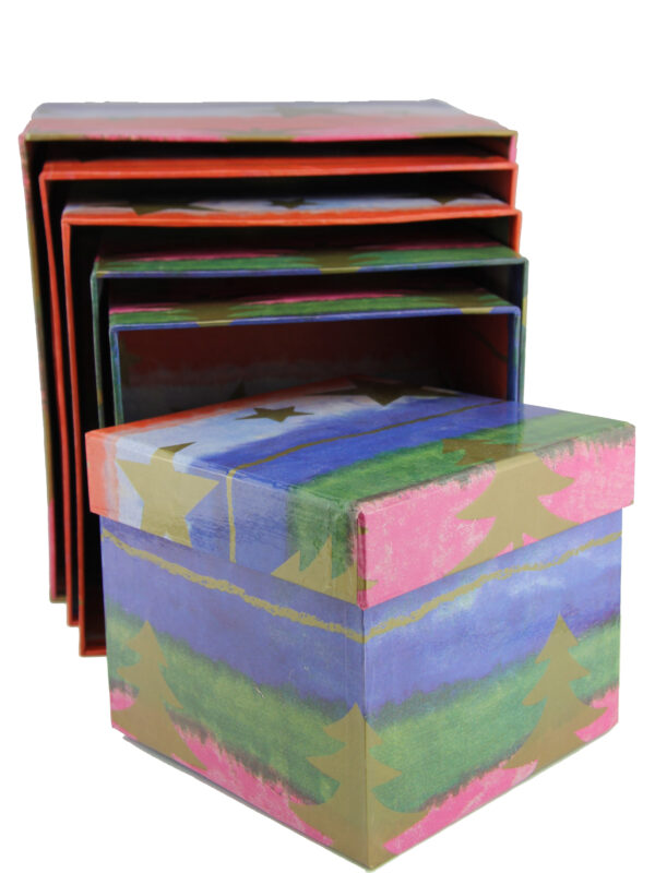 Weihnachtliche Geschenkbox Set Box Stern Tannenbaum Schachtel alle seite
