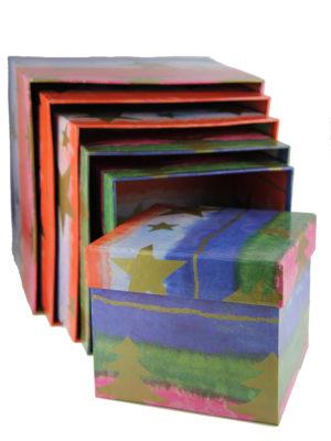 Weihnachtliche Geschenkbox Set Box Stern Tannenbaum Schachtel seite top