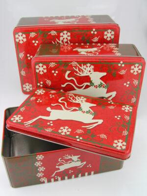 Weihnachtliche Metallbox Plätzchendose - Rentier Keksdosen Set