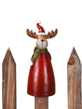 Weihnachtliche Zaunhocker Elch Zaunfigur