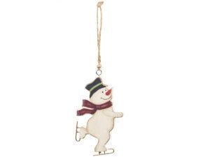 Weihnachtsbaumschmuck Schlittschuh Schneemann Holz Anhänger Vintage
