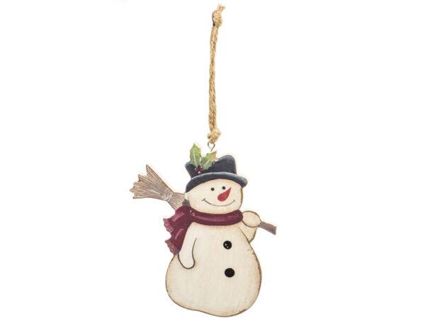 Weihnachtsbaumschmuck Schneemann Holz Anhänger