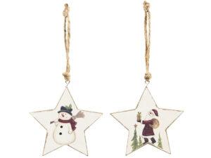 Weihnachtsbaumschmuck Schneemann oder Weihnachtsmann Holz Hänger Stern