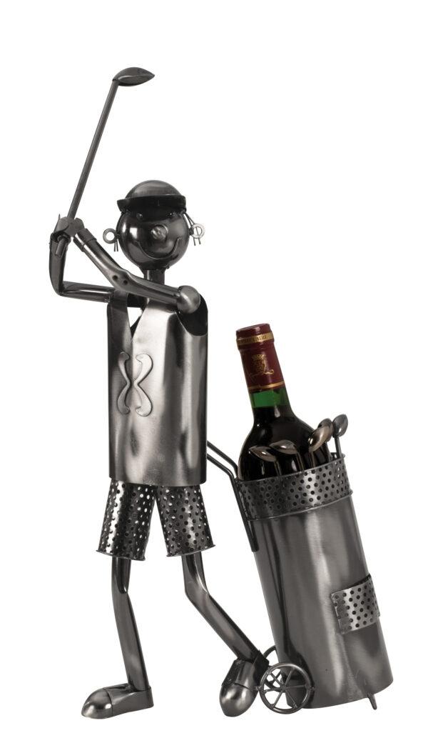 Wein-Flaschenhalter Golfspieler Skulptur – Flaschenständer Golfer mit Golftrolley silber