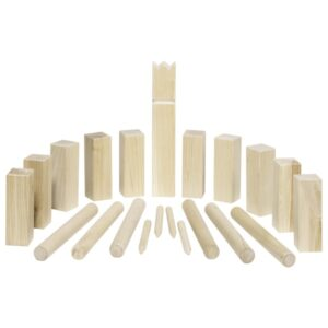 Wikingerspiel Kubb mittleres Wikinger Schach aus Holz im Baumwollbeutel