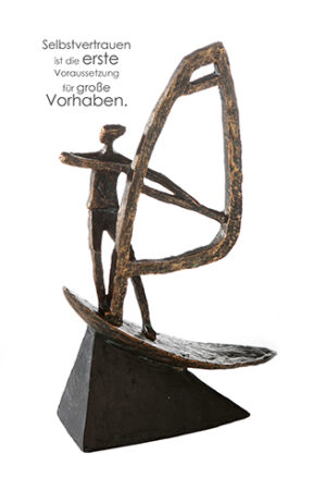 Windsurfer Skulptur - mit Zertifikat und Spruchanhänger