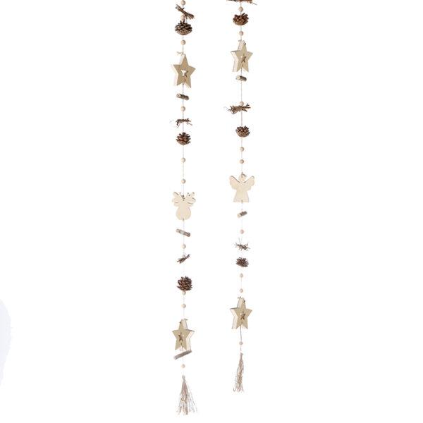Winter Girlande aus Holz - natürliche Girlande Engel oder Elch