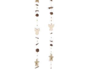 Winter Girlande aus Holz - natürliche Fensterkette Engel oder Elch