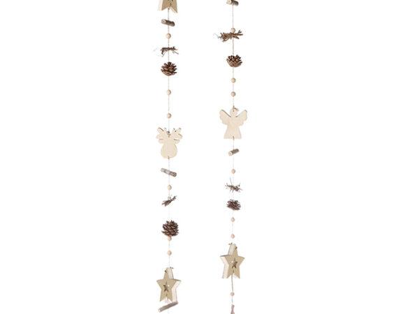 Winter Girlande aus Holz - natürliche Girlande Engel oder Elch zoom