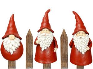 Winter Wichtel Zaunhocker Weihnachtsmann Gnom Zaunfigur Zwerg