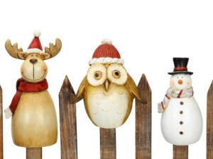 Winterliche Zaunhocker Weihnachten - Elch, Eule, Schneemann