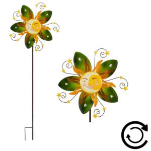 Windspiel Sonne - Mondgesicht - Sunface SUMMER Windrad Gartenobjekt Blume