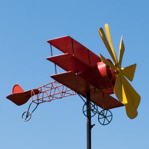 Windspiel Dreidecker Metall Flugzeug Roter Baron - Red Baron - Triplane Fokker Dr.I